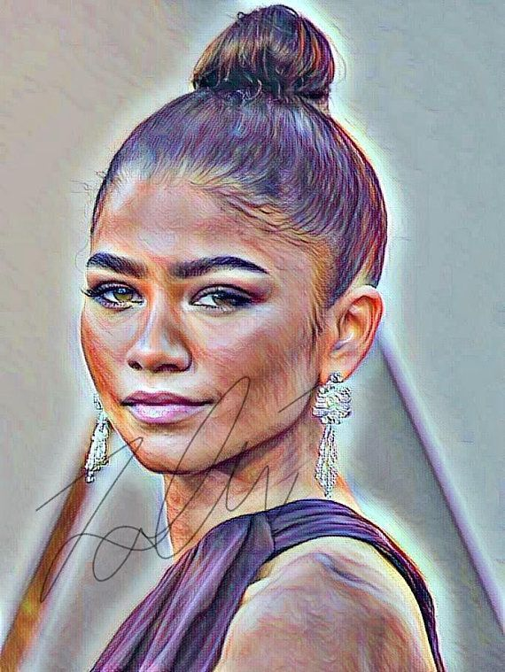 clipart drawing hair ideas Zendaya Coleman Sketch Drawing PRINT Wall