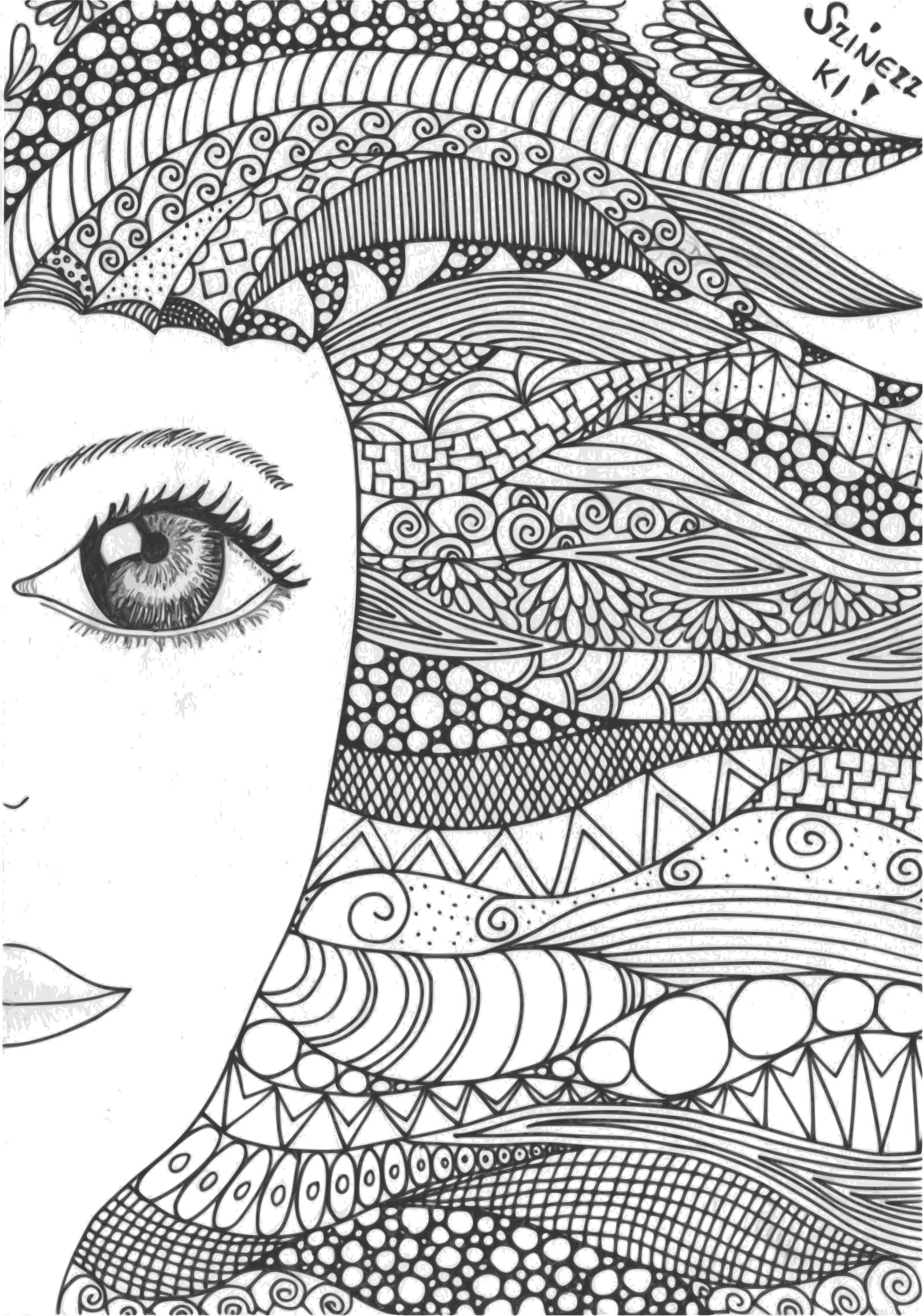 image library download Drawing ruffles zentangle. Doodle girl l ny