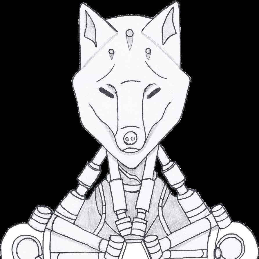 clip art black and white Zenyatta drawing. Overwatch kitsune fan skin