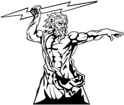vector transparent stock Zeus clipart black and white.