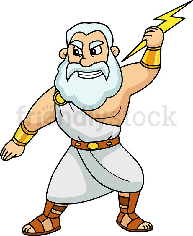 black and white library Zeus clipart cartoon. Holding a lightning bolt.