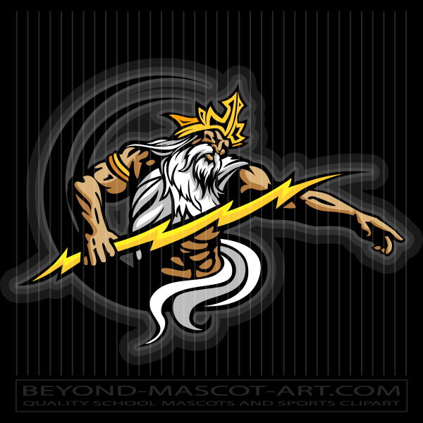 png black and white Vector image . Zeus clipart mascot
