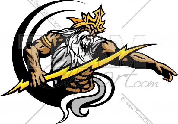 banner freeuse download Zeus clipart mascot. Titan with lightning titans