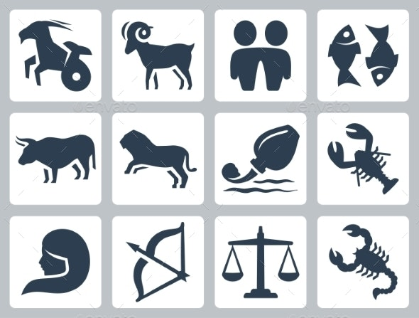 vector black and white download Signs of the icons. Zodiac vector icon