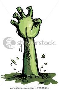 banner royalty free Zombie arm clipart. Le halloween classic .