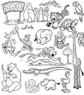 image library download . Zoo animals clipart black and white.