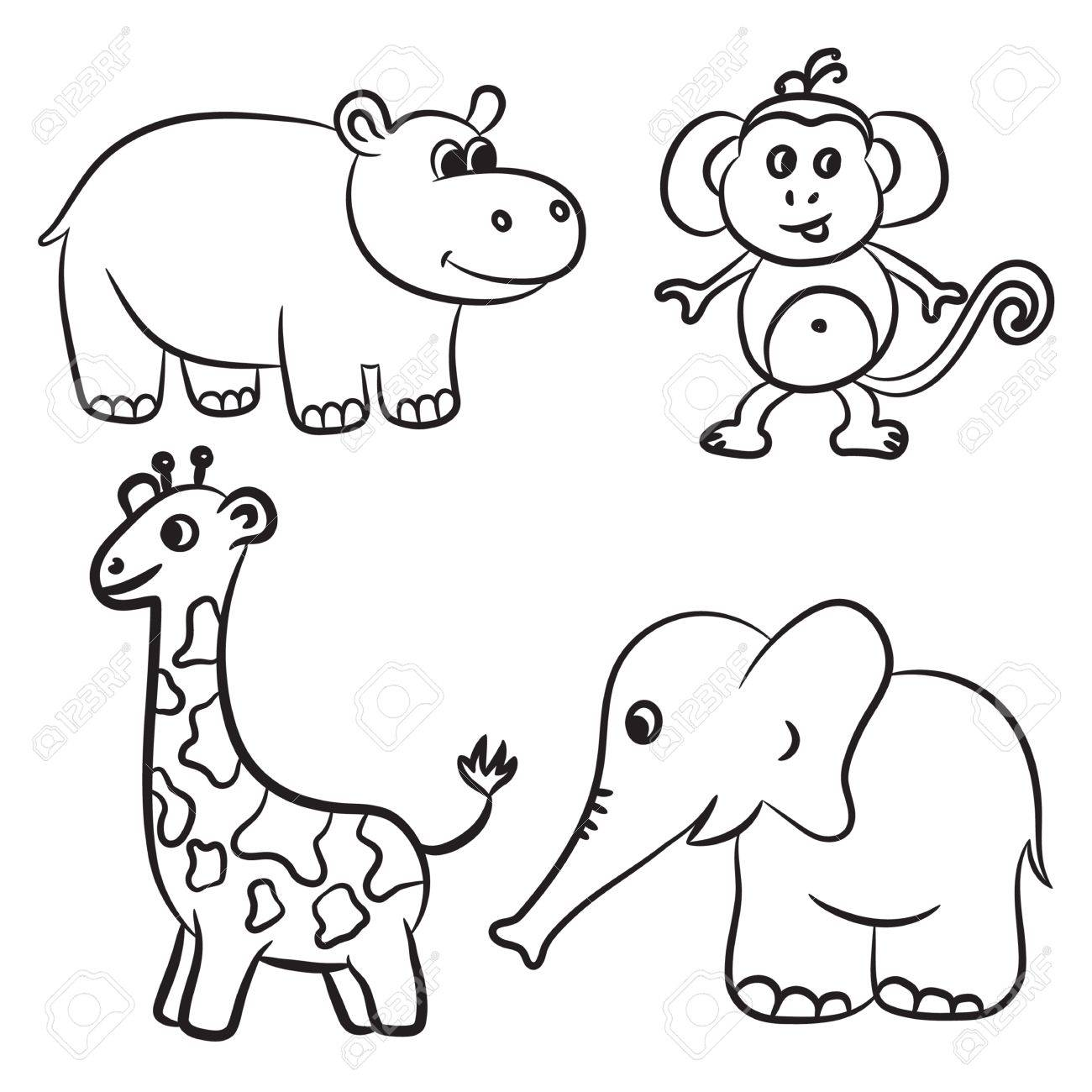clipart Zoo animals clipart black and white. Portal .