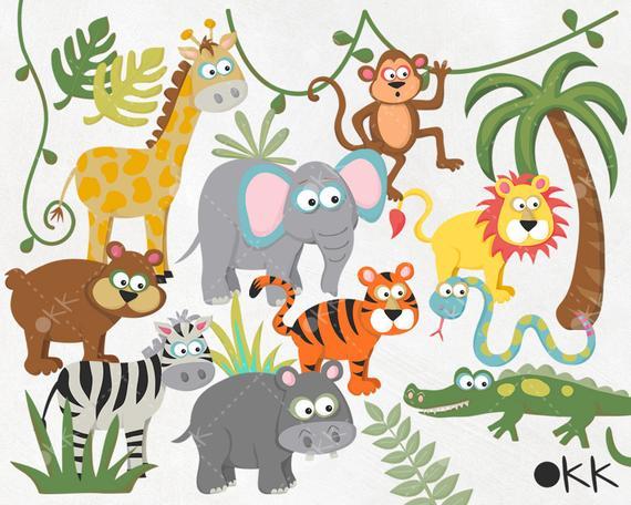 vector library library Zoo clipart. Safari jungle wild animals.