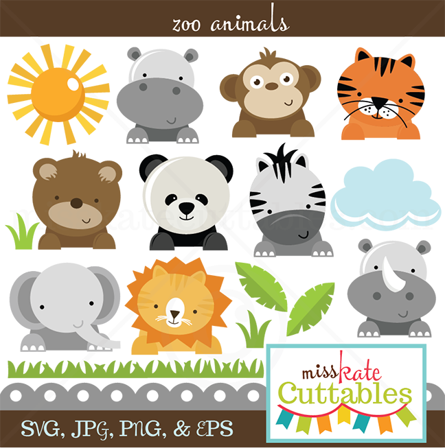 clip art freeuse Svg cut files for. Clipart zoo animals.