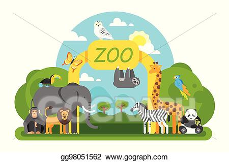 graphic royalty free stock Eps illustration animals standing. Zoo entrance clipart