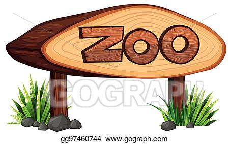 graphic black and white library Vector illustration made of. Zoo sign clipart.